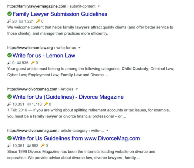 Google Results Family Law