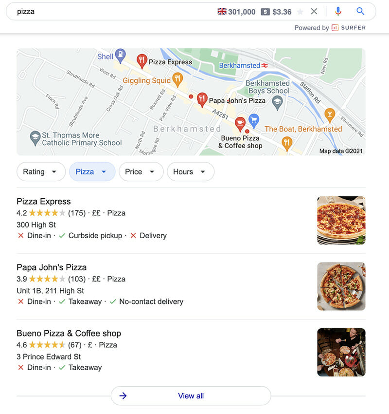pizza search result - local Berkhamsted SEO